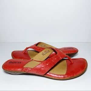 Born Red Leather Thongs Thong Sandals Flip Flops